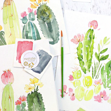 Intermediate Watercolor Cacti & Florals