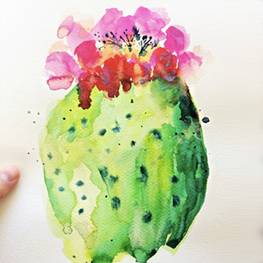 Watercolor Painting Cactus Bloom