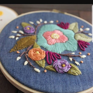 Willow and Rose Floral Hoop Art Embroidery